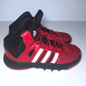Adidas Boys High Top Basketball Shoes Red Size 2